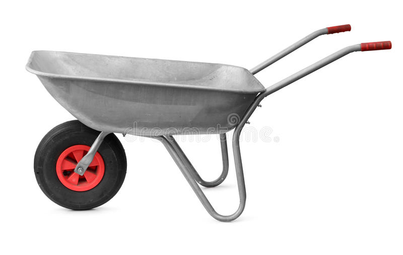 Wheelbarrow isolado no branco foto de stock