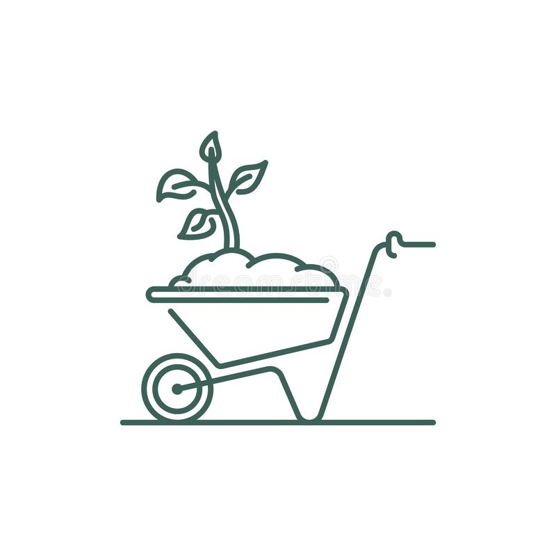Wheelbarrow line icon. Barrow with soil and tree seedling. Outline vector sign vector illustration