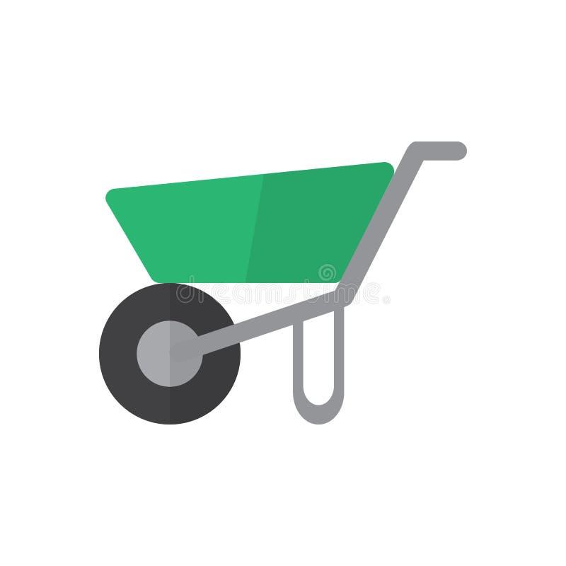 Wheelbarrow płaska ikona, wypełniający wektoru znak, kolorowy piktogram odizolowywający na bielu ilustracji