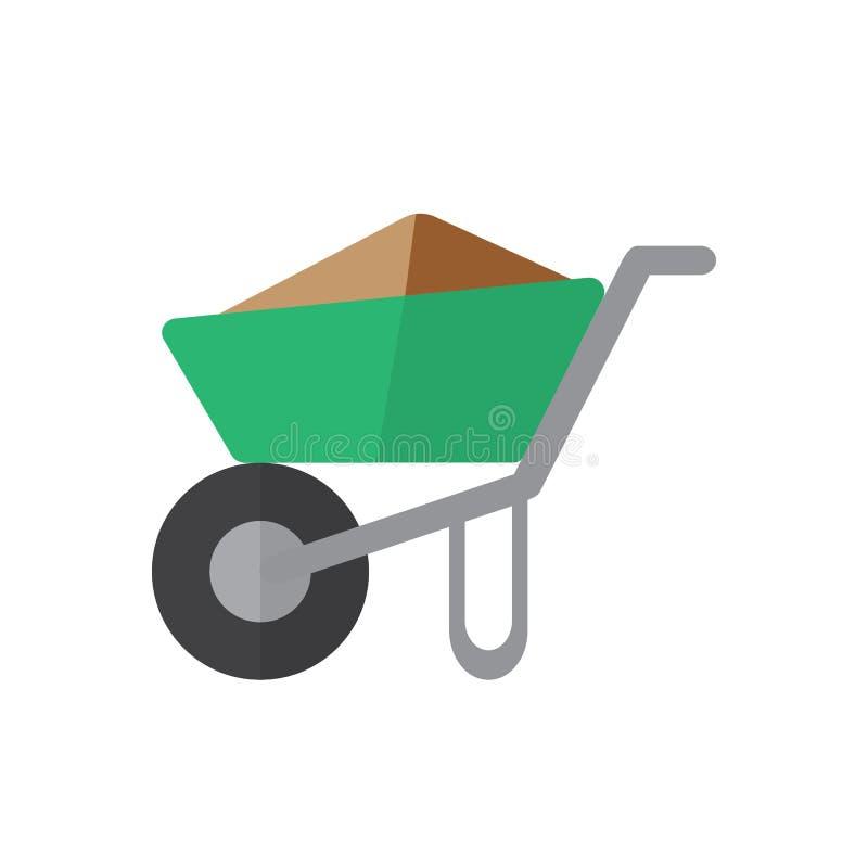 Wheelbarrow pełna płaska ikona, wypełniający wektoru znak, kolorowy piktogram odizolowywający na bielu ilustracja wektor