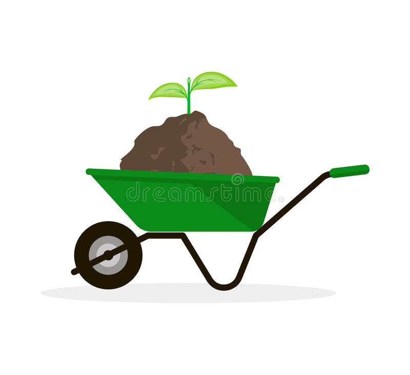 Wheelbarrow with Pile of Soil and Green Sprout vector illustration