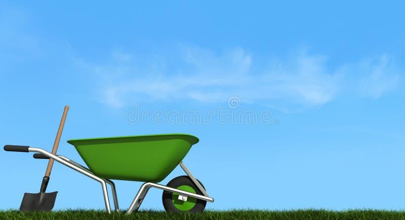 Download Wheelbarrow And Shovel On Grass Stock Illustration - Image: 23639098