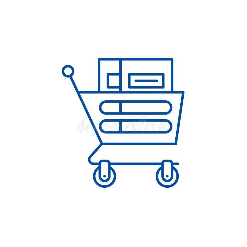 Wheelbarrow in the supermarket line icon concept. Wheelbarrow in the supermarket flat vector symbol, sign, outline. Wheelbarrow in the supermarket line concept vector illustration