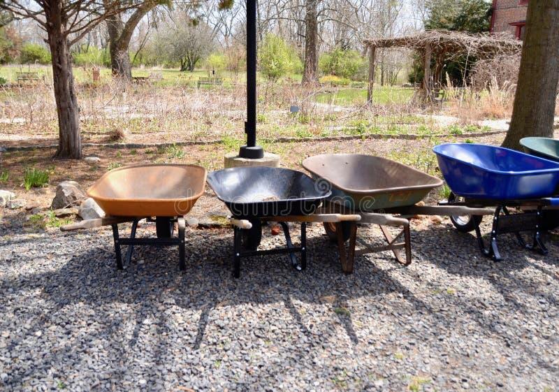 wheelbarrows imagem de stock