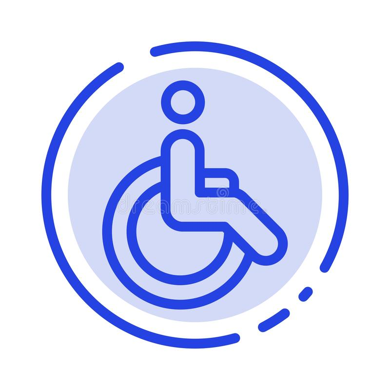 Wheelchair, Bicycle, Movement, Walk Blue Dotted Line Line Icon royalty free illustration