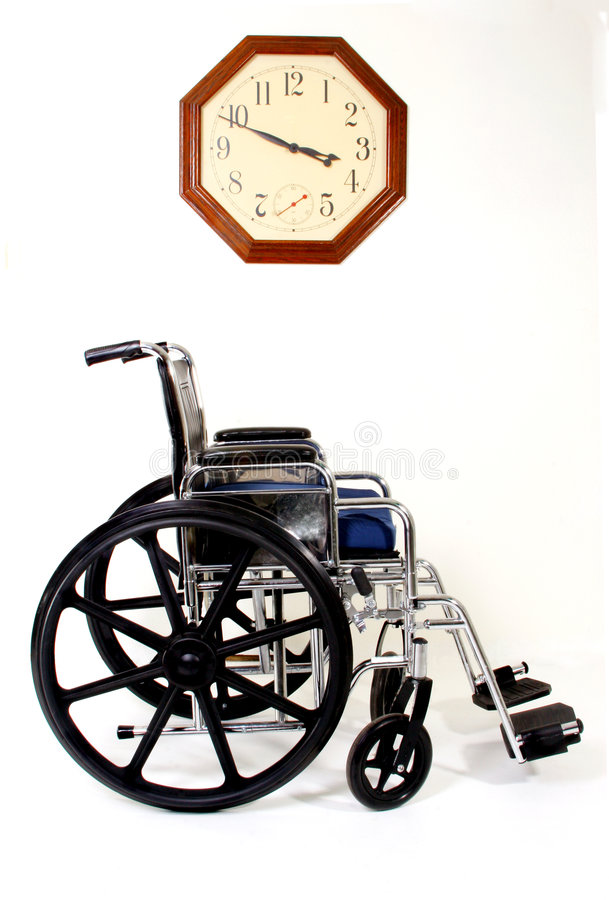 Wheelchair and Clock. Signs and Symbols for Disabilities and Handicaps stock photography