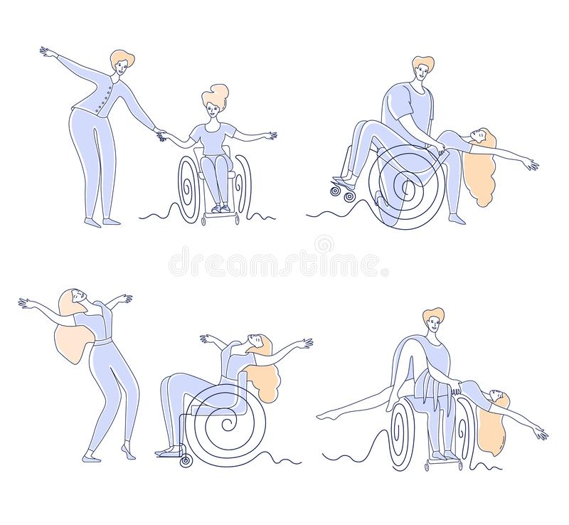 Wheelchair dance club. Men and women with disabilities sport leisure. Disabled people dancing simple line vector illustration set vector illustration
