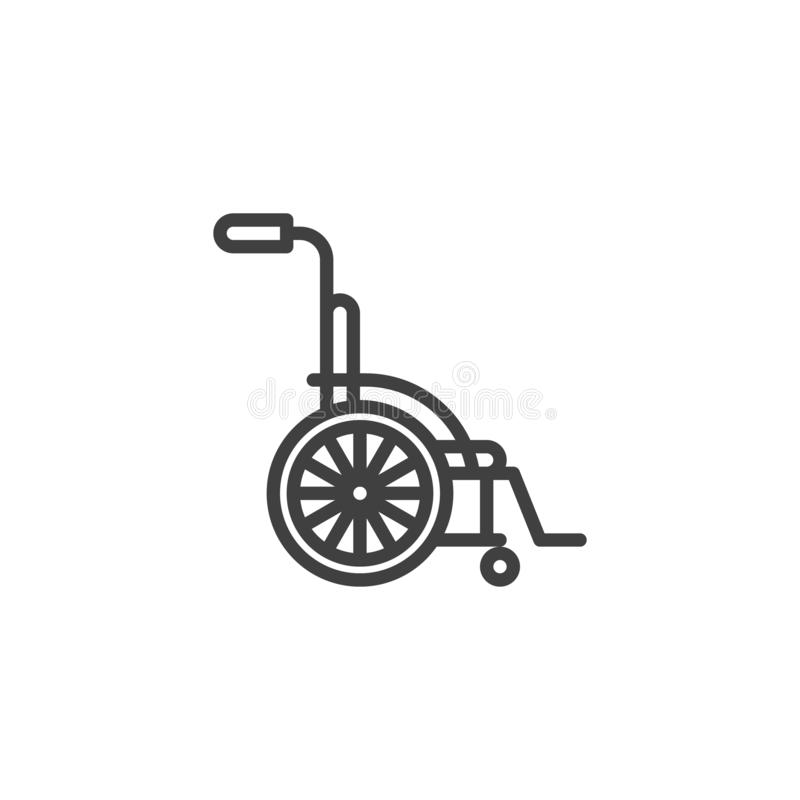 Wheelchair for disabled line icon. Linear style sign for mobile concept and web design. Orthopedic wheelchair outline vector icon. Symbol, logo illustration vector illustration