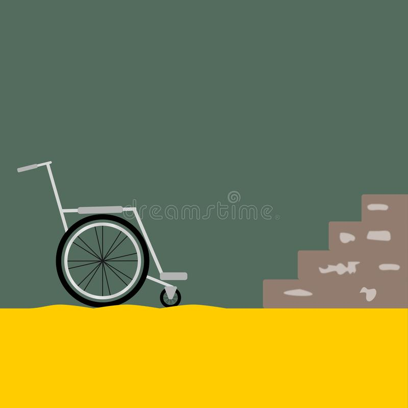 Wheelchair in front of a stair having trouble royalty free illustration