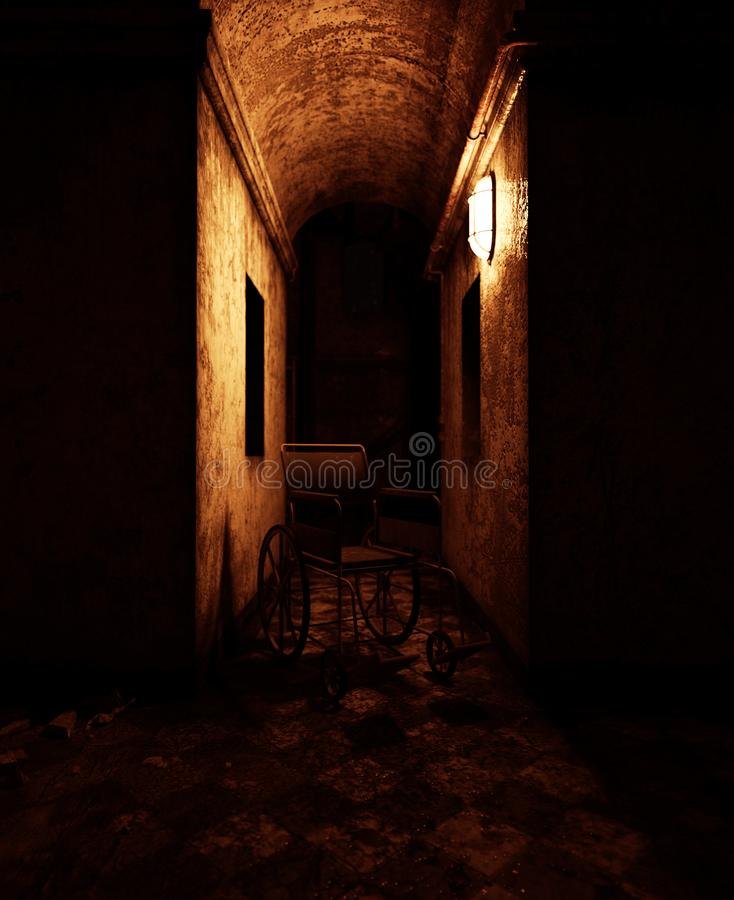 Wheelchair in haunted house. 3d rendering of a wheelchair in haunted house or asylum vector illustration