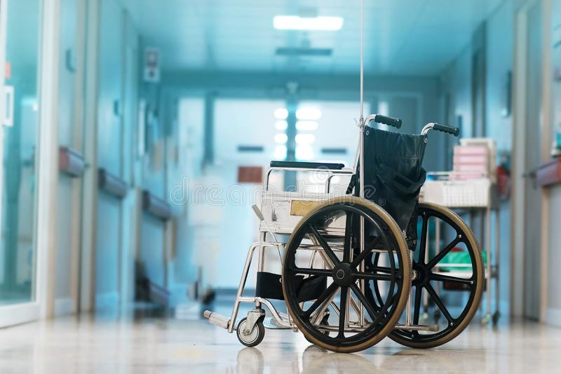Wheelchair in hospital royalty free stock photos