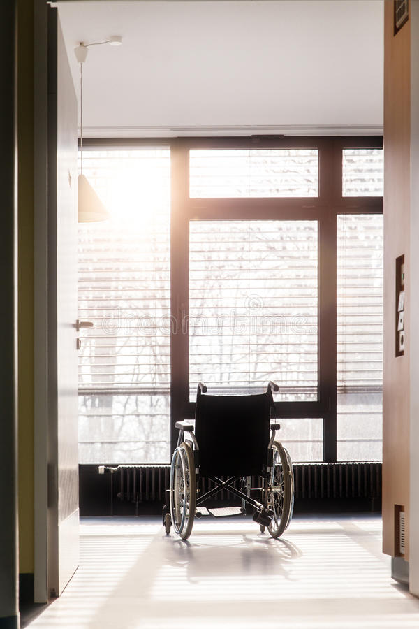 Wheelchair in an hospital stock photo