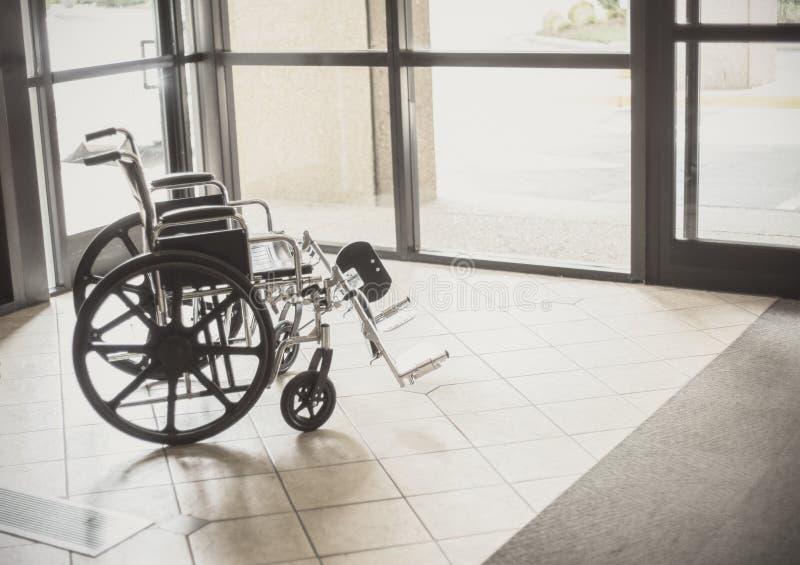 Wheelchair in a hospital stock photos