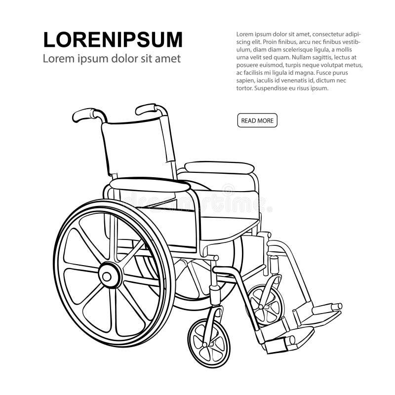 wheelchair Ilustração desenhada mão do vetor ilustração do vetor