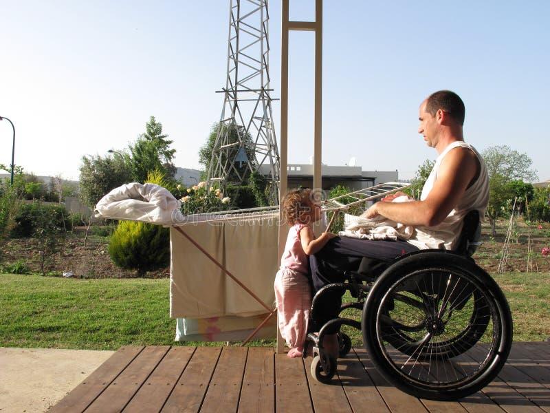 Wheelchair Laundry stock photo