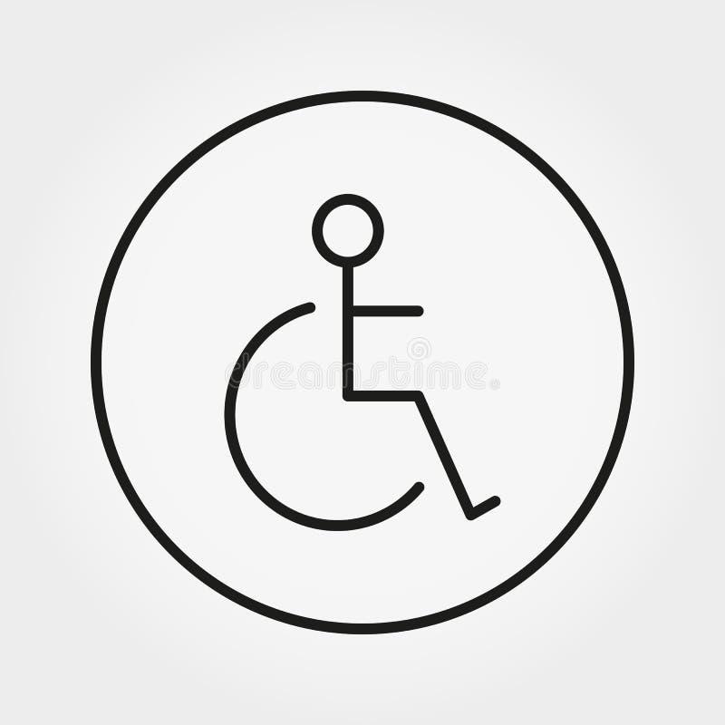 wheelchair Niepełnosprawna osoby ikona Istota ludzka na wózka inwalidzkiego znaku ilustracja wektor