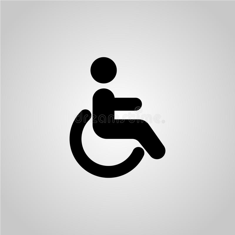 Wheelchair sign vector icon. Disabled person icon. Human on wheelchair sign. Patient transportation symbol royalty free illustration