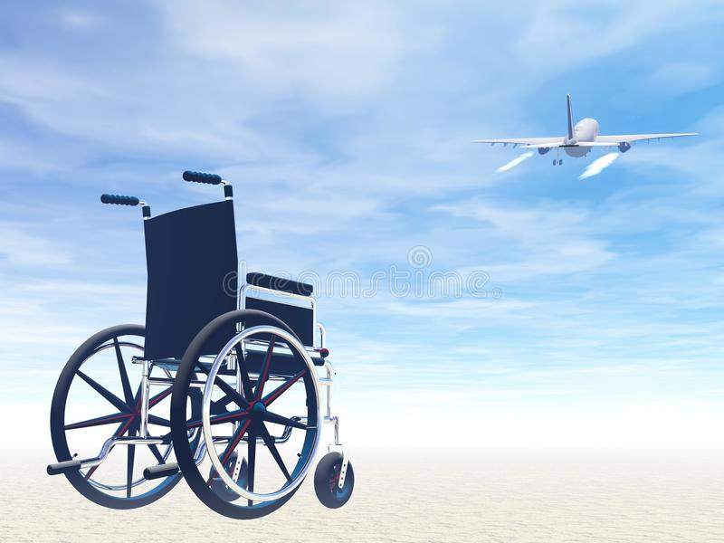Wheelchair and travel by plane- 3D render royalty free illustration