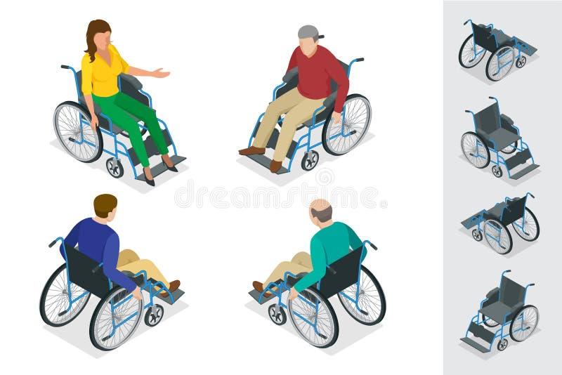 wheelchair Uomo in sedia a rotelle Illustrazione isometrica piana di vettore 3d Giorno internazionale delle persone con illustrazione vettoriale