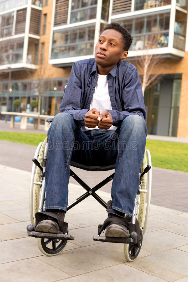 Wheelchair. A wheelchair user feeling nervous or worried stock photography