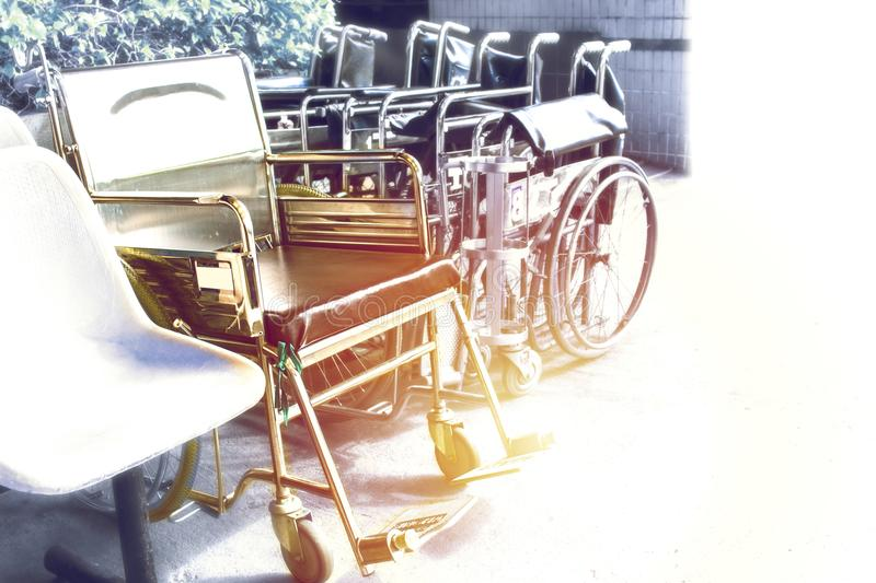 Wheelchairs waiting for services. with sunlight copy space stock image