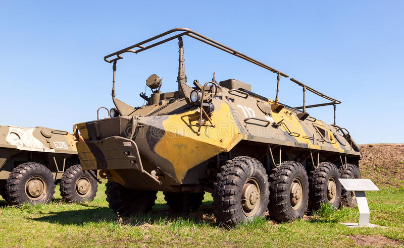 Wheeled armoured personnel carrier BTR-80 with radio station R-145. TOGLIATTI, RUSSIA - MAY 2, 2013: Wheeled armoured personnel carrier BTR-80 with radio station stock photo