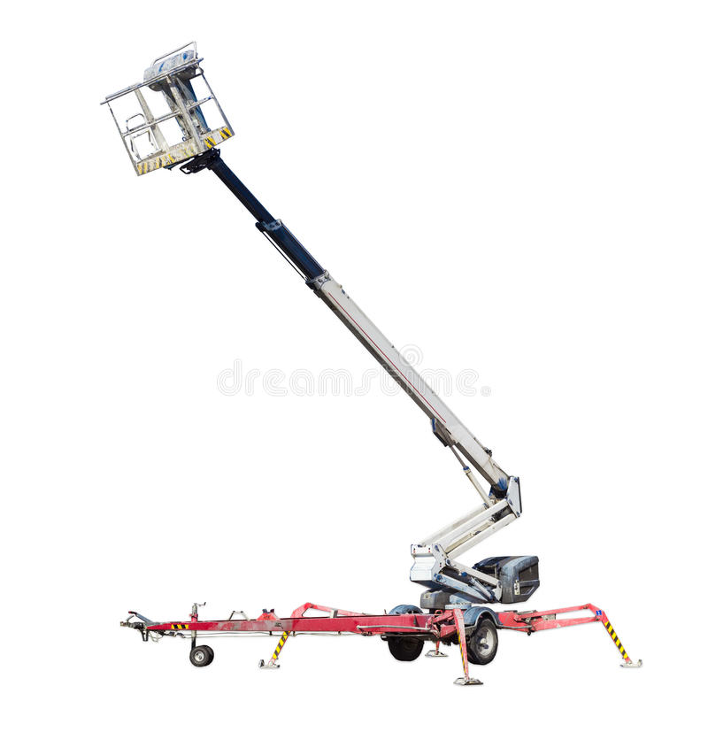 Wheeled articulated boom lift with telescoping boom and basket. Wheeled in tow articulated boom lift with telescoping boom and basket on a light background stock photos