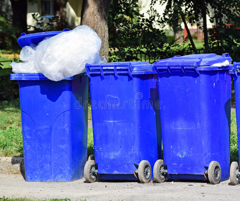 Wheeled garbage cans. On the street stock images