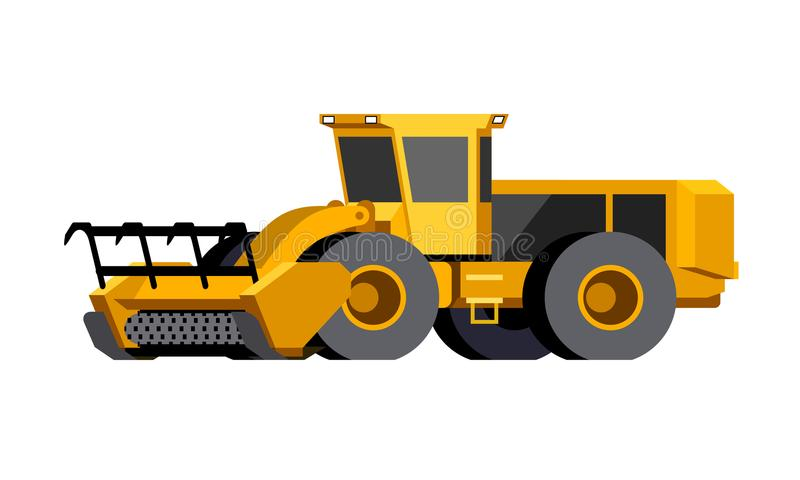 Wheeled mulcher vehicle icon stock illustration