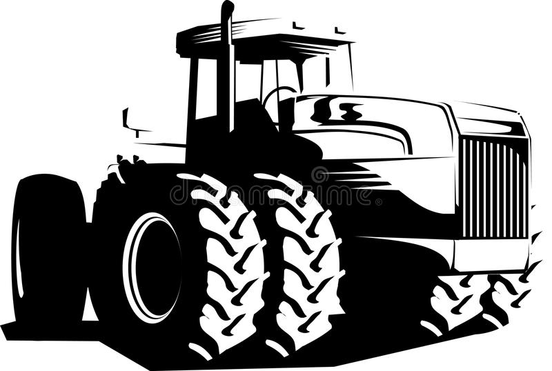 Download Wheeled Tractor Black And White Stock Vector - Image: 9562855