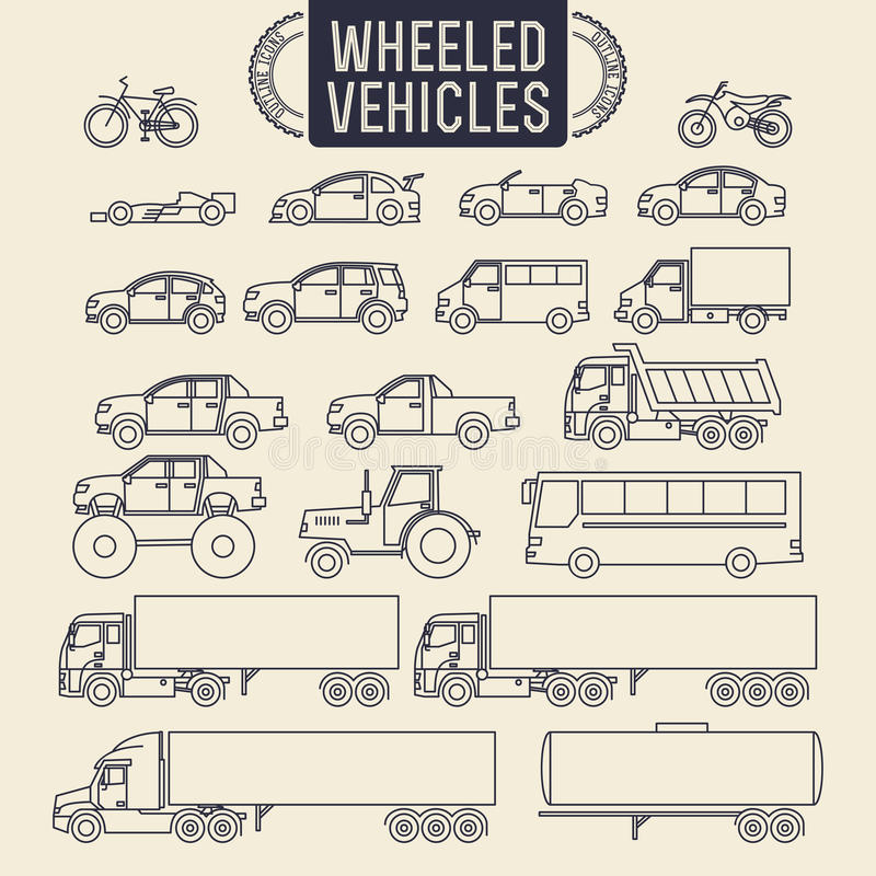 Free Wheeled Vehicles Icons Royalty Free Stock Images - 49999859