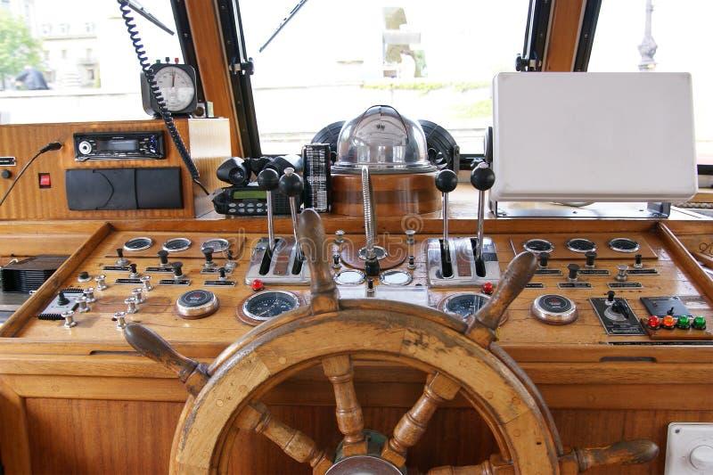 Wheelhouse (flying bridge, Bridge of a ship) royalty free stock photo