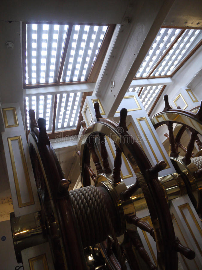 Wheelhouse on HMS Warrior in Portsmouth Harbour, Hampshire. HMS Warrior was a 40-gun steam-powered armoured frigate built for the Royal Navy in 1859–61 stock photos