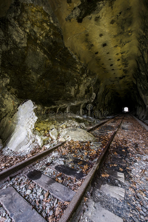 Wheeling & Lake Erie Railroad Tunnel - Adena, Ohio. Inside a tunnel along a former Wheeling & Lake Erie Railroad branch in Adena, Ohio stock image