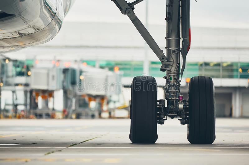 Wheels of the airplane stock photography