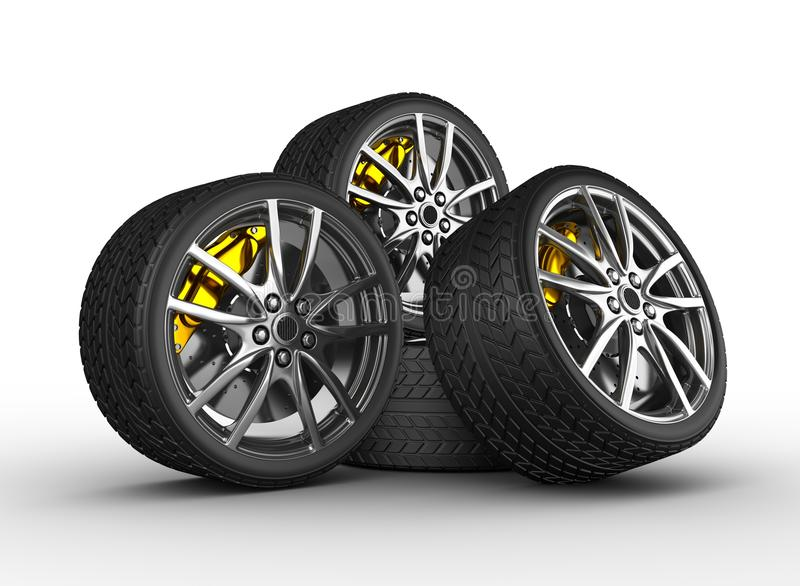Wheels with alloy rims. 3d render royalty free illustration