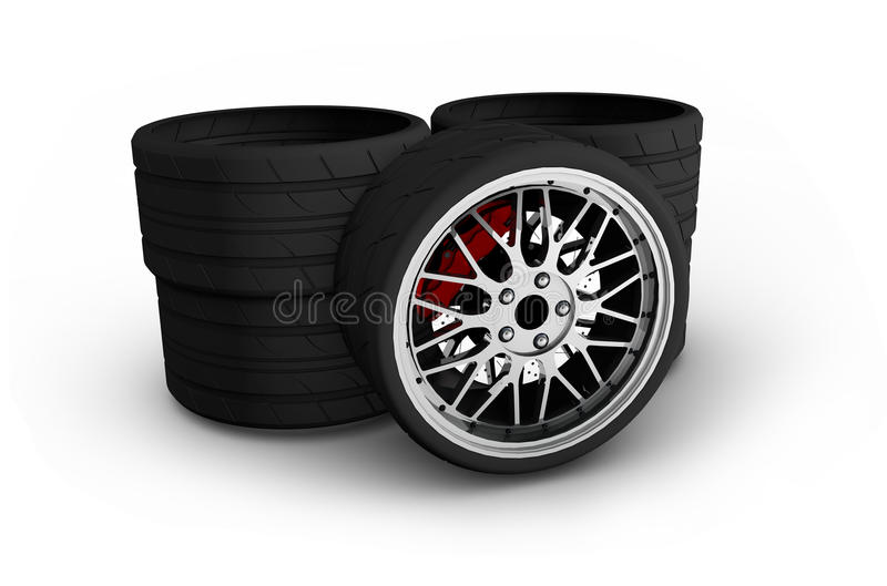 Wheels with alloy rims - 3d render.  vector illustration