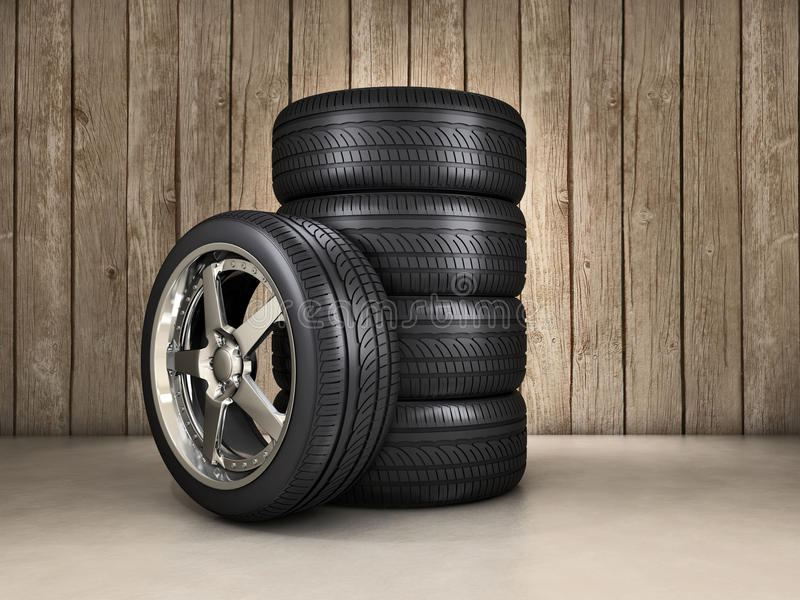 Wheels background. Several tires inside a garage vector illustration