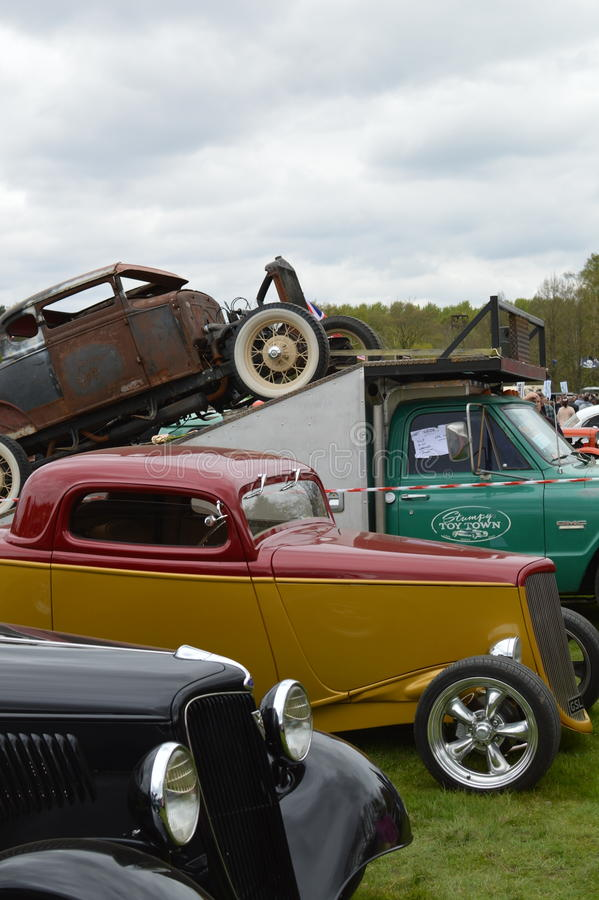 Wheels Day 2017 at the Rushmoor Arena. Annual Wheels Day event organised by the Surrey Street Rodders. Held at Rushmoor Arena clubs meet to display their hot royalty free stock photo