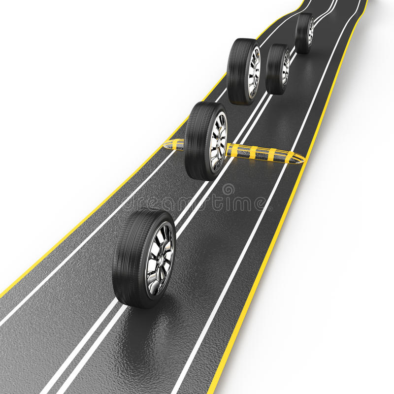 Wheels Jumping Over Speed Bump Stock Images