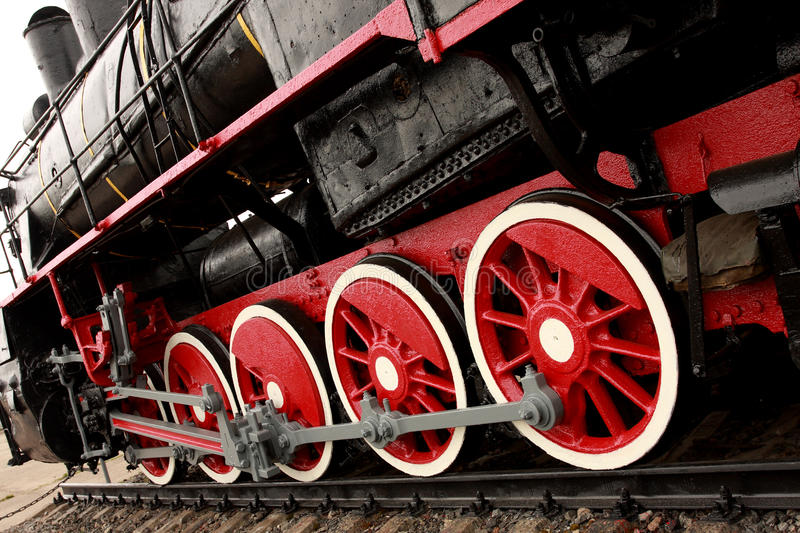 Wheels of the old express train stock image
