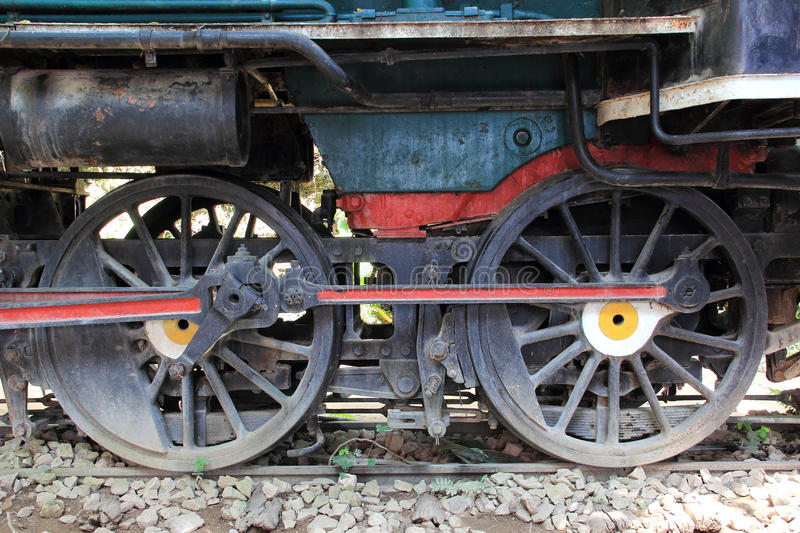 Wheels of the old express train royalty free stock photography