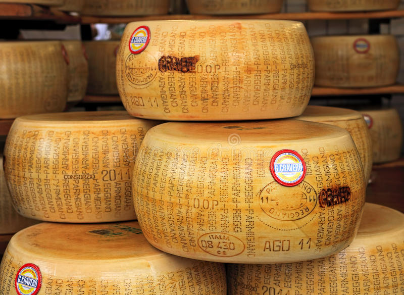 Wheels of Parmesan cheese. stock image