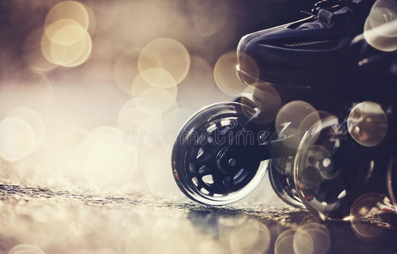 Wheels of roller skates stock photography
