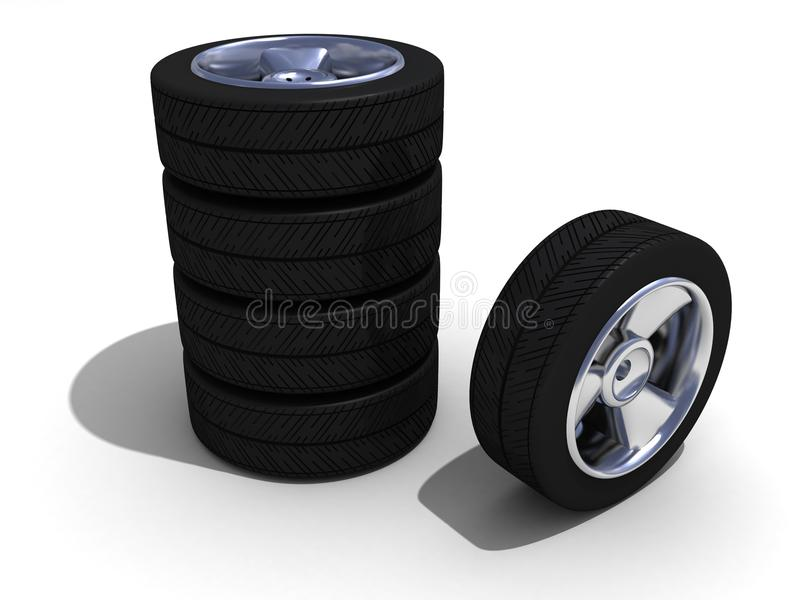Wheels With Steel Rims Stock Photo