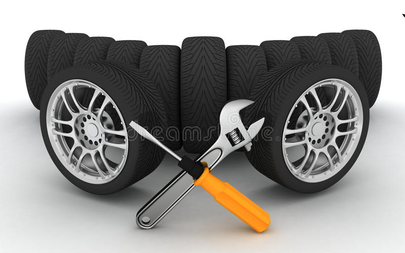 Wheels and Tools. Car service vector illustration