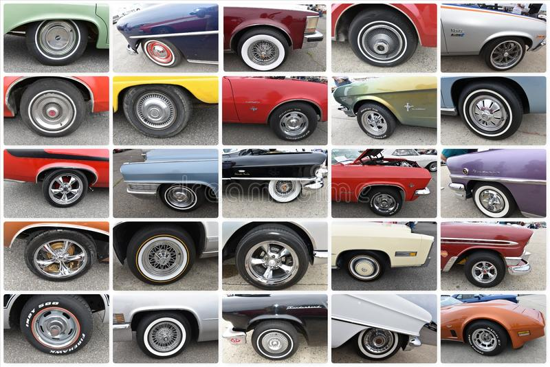 Wheels view retro twenty fives cars new york show royalty free stock images