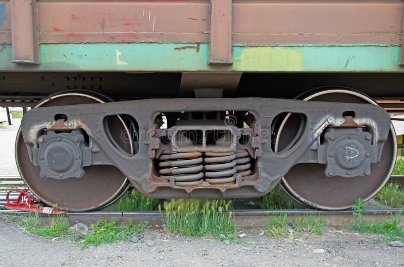 Wheelset of a freight car. Russia royalty free stock photography