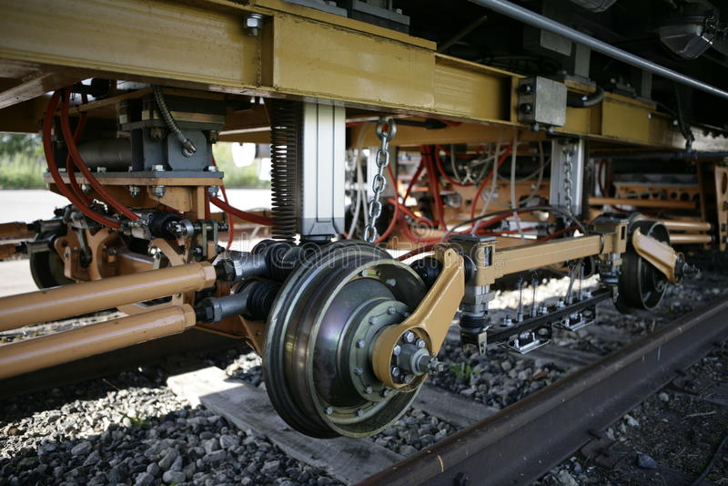 Wheelset rail flaw. Russian railways Testing Lab royalty free stock photography