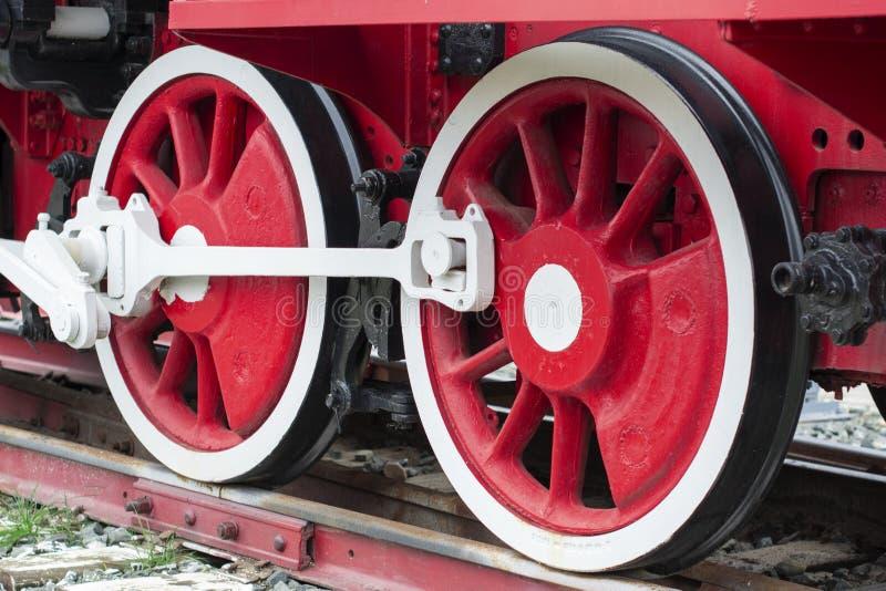 Wheelset, ruedas de las locomotoras de vapor viejas un par de ruedas locomotoras retras vendimia foto de archivo